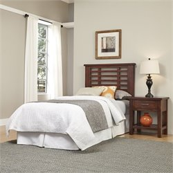 Home Styles Cabin Creek Twin Headboard and Night Stand in Chestnut
