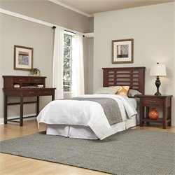 Home Styles Cabin Creek Twin Headboard 4 Piece Bedroom Set in Chestnut