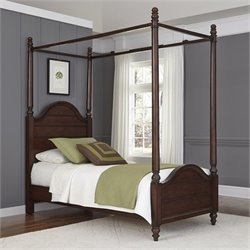 Twin Canopy Bed in Aged Bourbon