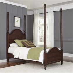 Twin Poster Bed in Aged Bourbon