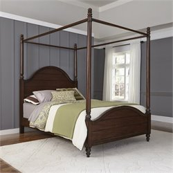 Home Styles Country Comfort Queen Canopy Bed in Aged Bourbon
