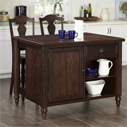 Home Styles Country Comfort Kitchen Island and 2 Bar Stools in Bourbon