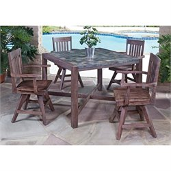 5 Piece Dining Set in Wire Brushed