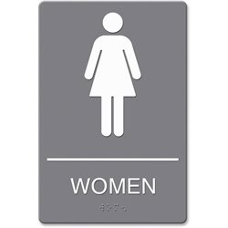 U.S. Stamp & Sign ADA Women Restroom Sign w Symbol