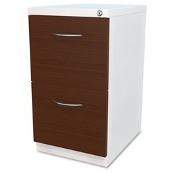 Lorell 2 Drawer Laminate Wood Mobile Pedestal File Cabinet in White