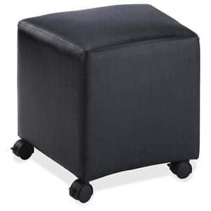 Lorell Leather Cube Ottoman in Black