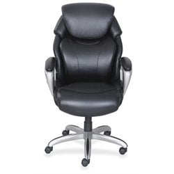 Lorell Leather Executive Swivel Office Chair in Black