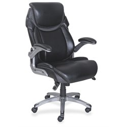 Lorell Wellness by Design Leather Executive Office Chair in Black
