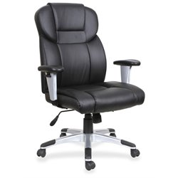 Lorell Leather High Back Executive Swivel Office Chair in Black