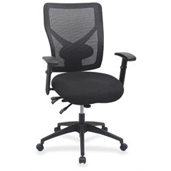 Lorell Multi Task Control Mesh Back Swivel Office Chair in Black