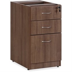 Lorell Essentials 3 Drawer Pedestal Filing Cabinet in Walnut