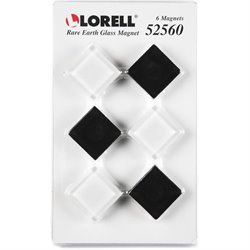Lorell Square Glass Cap Rare Earth Magnets (Set of 6)