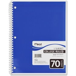 MeadWestvaco 1-Subject Wirebound Ruled Notebook