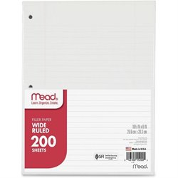 Mead 3-Hole Punched Wide-ruled Filler Paper