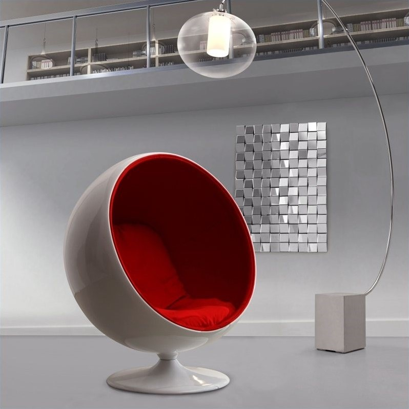 Superbe ZUO MIB Fiber Glass Egg Chair In Red