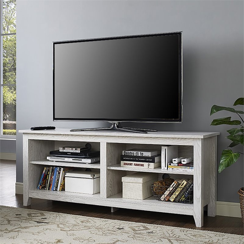 58 Quot Simple Tv Stand In White Wash W58cspww