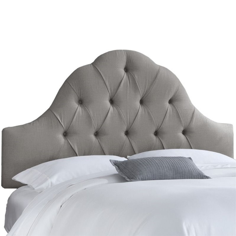 Skyline Upholstered Arch Tufted King Headboard In Gray