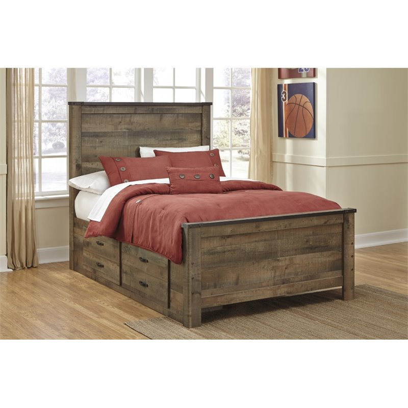Ashley Furniture Trinell Full Panel Bed With Underbed Storage In Brown B446 50 87 84 B100 12 Kit