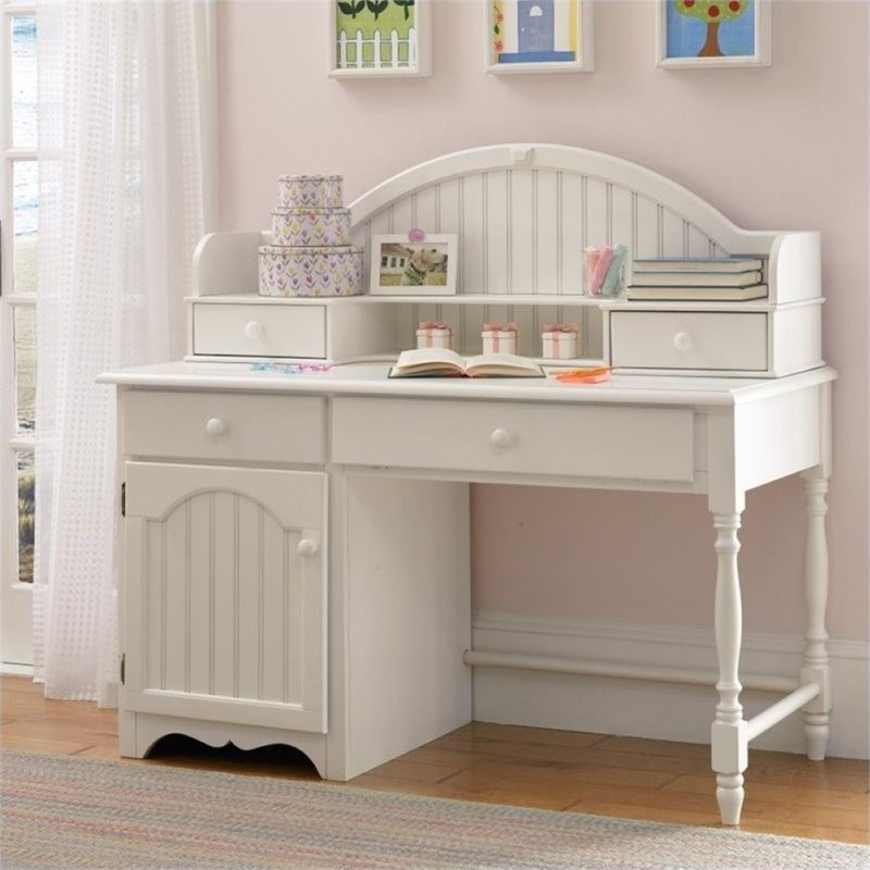 Bowery Hill Writing Desk With Hutch In Off White