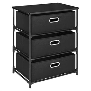 3 Bin Storage Unit In Black
