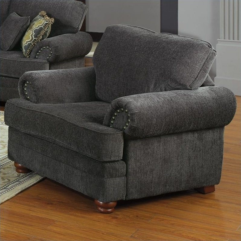 Colton Traditional Upholstered Club Chair In Gray