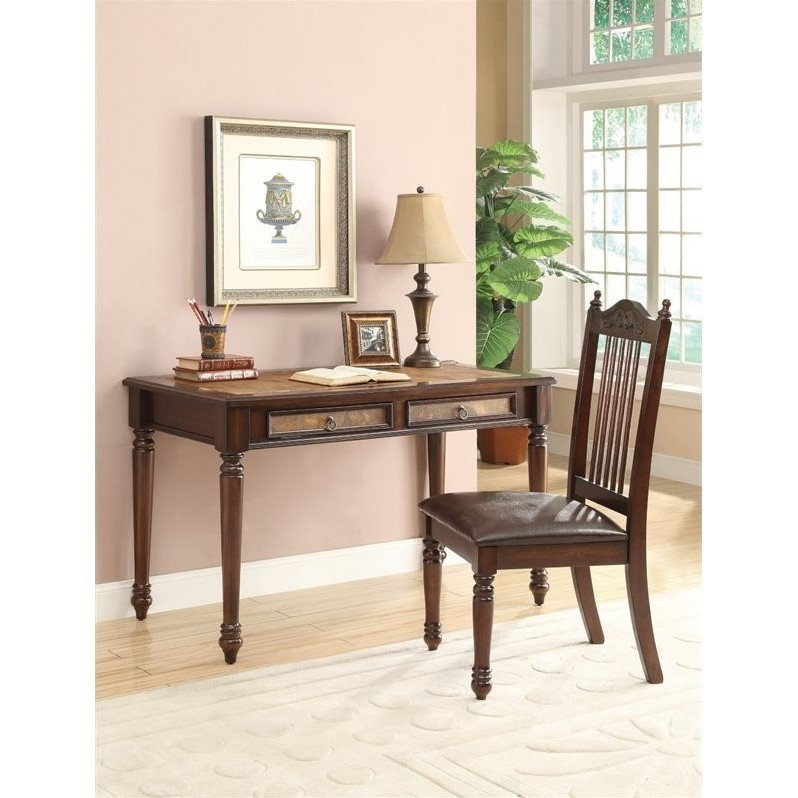 Coaster Traditional Desk And Side Chair In Cherry 323 98 569 00 Img Yvette L Shaped Computer